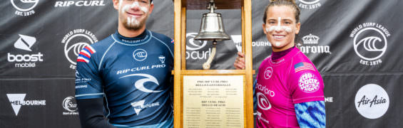 VICTORIA, AUSTRALIA - APRIL 27: Two-time world champion John John Florence of Hawaii and Courtney Conlogue of the USA win the 2019 Rip Curl Pro Bells Beach after winning the final at Bells Beach on April 27, 2019 in Victoria, Australia. (Photo by Kelly Cestari/WSL via Getty Images)